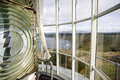 Lighthouse top tower windows curtain glass fresnel magnifying spinning lens housing in cape blanco Royalty Free Stock Photo