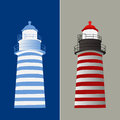 Lighthouse vector illustration in two tone color red and blue architecture design safety navigation Royalty Free Stock Images