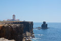Lighthouse water and rock in peniche portugal city Royalty Free Stock Photos