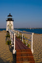 Lighthouse welcomes visitors to nantucket island brant point on has been rebuilt nine times due its close location sea level it is Royalty Free Stock Images