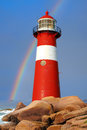 Lighthouse westkapelle netherlands with a rainbow during thunderstorm Stock Photography