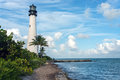Lighthouse a white at key biscayne florida Royalty Free Stock Images