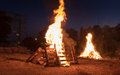 Lighting of bonfires at Jewish holiday of Lag Baomer Royalty Free Stock Photo