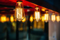 Lighting decor decoration with vintage bulbs eclectic interior Royalty Free Stock Images