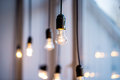 Lighting decor with hanging lamps Stock Photos