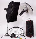 Lighting equipments with umbrella and spotlight Stock Images