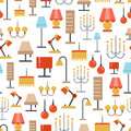 Lighting seamless pattern - texture with flat lamps