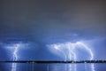 Lighting thunderbolt lightning reflected on water Royalty Free Stock Photography