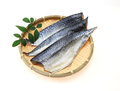 Lightly dried sliced mackerel on a bamboo colander pictured Stock Photo