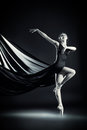 Lightness black and white portrait of a graceful beautiful ballet dancer posing at studio art concept Royalty Free Stock Images