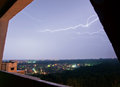 Lightning beautiful view from the window Stock Photos