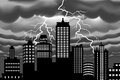 Lightning bolt at building city vector illustration of Royalty Free Stock Image