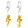 Lightning bolt icons set of golden and silver vector illustration Royalty Free Stock Images