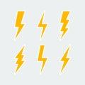 Lightning bolt icons set Royalty Free Stock Photo