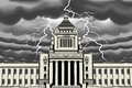 Lightning bolt at japan national diet building vector illustration of Royalty Free Stock Photography