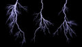Lightning bolts different isolating on black Royalty Free Stock Photos