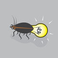 Lightning bug bulb with light Royalty Free Stock Images