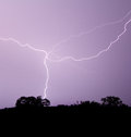 Lightning Crosses Purple Sky Royalty Free Stock Photo