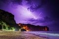 Lightning flashes on beach across the night sky in thailand krabi province Stock Photo