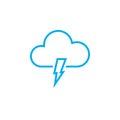 Lightning icon isolated on white background. Vector illustration.