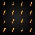 Lightning icons gold vector set icon symbols on black background Stock Images