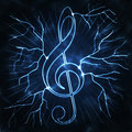 Lightning and musical sign Royalty Free Stock Photo