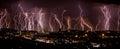 Lightning over city Royalty Free Stock Photo