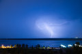 Lightning over the river volga volgograd russia Royalty Free Stock Photo