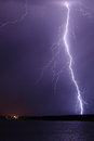 Lightning in the rain bolt strikes through from a strong thunderstorm Royalty Free Stock Images