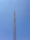 Lightning rod metallic tower with a on top Stock Image