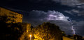 Lightning a storm from italy Stock Photos