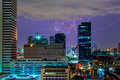Lightning storm and thunder over city Royalty Free Stock Photo