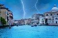 Lightning storm in venice thunder view from grand canal Royalty Free Stock Photos