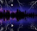 Lightning storm in wilderness with full moon and trees reflected lake Royalty Free Stock Photography