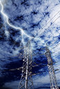Lightning strike to power line pillar Royalty Free Stock Images