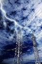Lightning strike to power line pillar Royalty Free Stock Photo