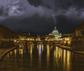 Lightning strikes the dome san pietro vatican rome Royalty Free Stock Photo