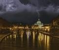 Lightning strikes the dome san pietro vatican rome Royalty Free Stock Photo