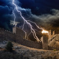 Lightning strikes fortress Royalty Free Stock Photo