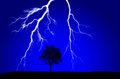Lightning Striking Near Silhouetted Tree Royalty Free Stock Photo