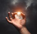 Lightning between two fingers Royalty Free Stock Photo
