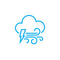 Lightning and wind icon isolated on white background. Vector illustration.