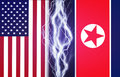 Lightnings effect between flags of USA and North Korea. Concept of conflict between two nations, Washington and Pyongyan Royalty Free Stock Photo
