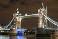Lights and Colors of Tower Bridge at Night Stock Image