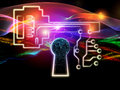 Lights of encryption arrangement human head key symbol and fractal design elements on the subject security digital communications Stock Image