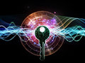 Lights of encryption arrangement human head key symbol and fractal design elements on the subject security digital communications Stock Photography