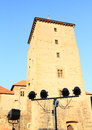 Lights in front of tower on Svihov castle Royalty Free Stock Photo