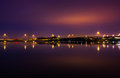 Lights and highways reflecting in the Potomac River at night, se Royalty Free Stock Photo