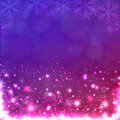 Lights on purple background with snowflakes illustration Stock Photo