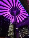 Purple lights of Sony center in Berlin